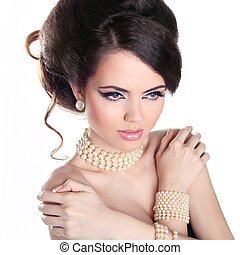 mooie vrouw, juwelen, achtergrond., parels, vrijstaand, girl., mode, sexy, verticaal, witte , hairstyle.
