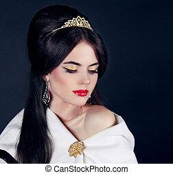 mooie vrouw, juwelen, beauty., avond, make-up., foto, mode