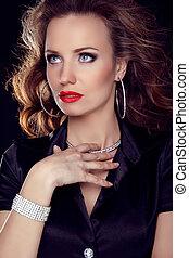 mooie vrouw, juwelen, krullend, beauty., haar, avond, luxe, make-up., foto, mode