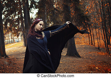 mooie vrouw, kap, hout, beeld, elf, jonge, mantel, zwart...