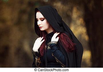 mooie vrouw, kap, hout, beeld, elf, jonge, mantel, zwart bos, mysterieus, heks, of
