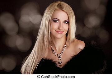 mooie vrouw, kunst, blonde , beauty., haar, avond, make-up., foto, mode, juwelen