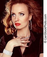 mooie vrouw, kunst, juwelen, krullend, beauty., haar, avond, make-up., foto, mode
