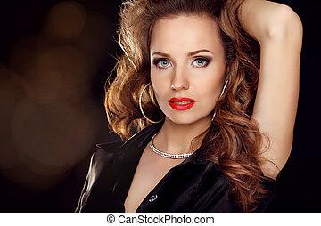 mooie vrouw, kunst, juwelen, krullend, beauty., haar, avond, make-up., foto, verticaal, mode