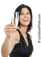 mooie vrouw, lachen, en, het roosteren, met, champagne