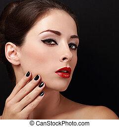 mooie vrouw, makeup, gezicht, het kijken, helder, closeup, sexy.