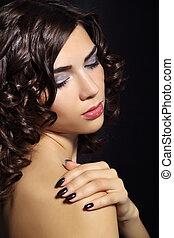 mooie vrouw, makeup, jonge, closeup, verticaal