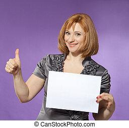 mooie vrouw, met, een, leeg, (paper), voor, jouw, tekst