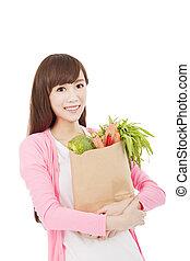 mooie vrouw, met, fruit en groenten