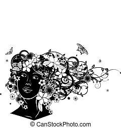 mooie vrouw, met, haar, gemaakt, van, bloemen