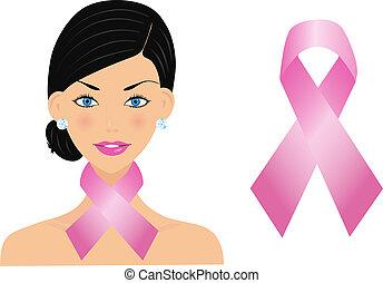 mooie vrouw, met, kanker, lint