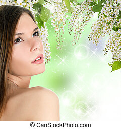 mooie vrouw, met, lente, colours., skincare