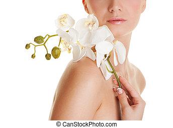 mooie vrouw, met, orchidee, bloem