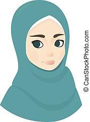 mooie vrouw, moslim, illustratie, vector, verticaal, meisje, hijab
