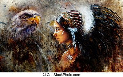mooie vrouw, mystiek, jonge, indiër, slijtage, havik, schilderij
