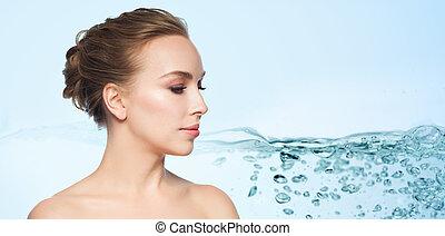 mooie vrouw, op, jonge, gezicht, achtergrond, witte