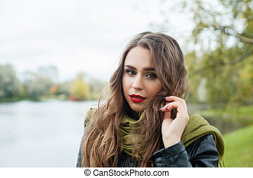 mooie vrouw, outdoor., park, jonge, herfst, meisje