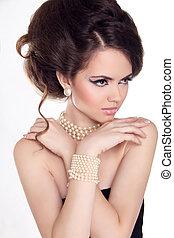 mooie vrouw, pearls., juwelen, beauty., avond, make-up., foto, mode