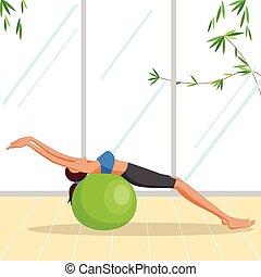 mooie vrouw, pilates, oefening