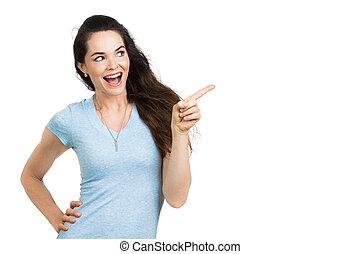 mooie vrouw, pointing., vrolijke