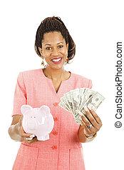 mooie vrouw, reddend geld
