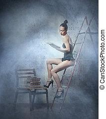 mooie vrouw, rokerig, boek, lingerie, achtergrond, lezende ,...