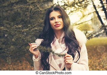 mooie vrouw, romantische, brunette, verticaal, outdoors., meisje