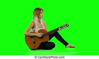 mooie vrouw, scherm, guitar., jonge, spelend, ongedwongen,...