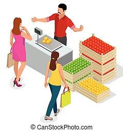 mooie vrouw, shoppen , fris, fruits., fruit verkoper, in, een, farmer, market., stander, voor, het verkopen, fruit., krat, van, appeltjes , pears., plat, 3d, isometric, vector, illustratie, voor, infographic