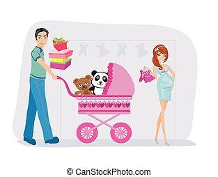 mooie vrouw, shoppen , haar, zwangere , echtgenoot
