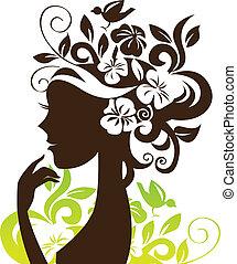 mooie vrouw, silhouette, met, bloemen, en, vogel