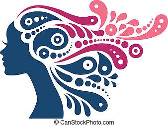 mooie vrouw, silhouette., tatoeëren, van, abstract, meisje, haar