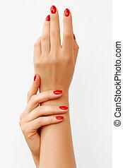 mooie vrouw, spijkers, backgroud, handen, wit rood