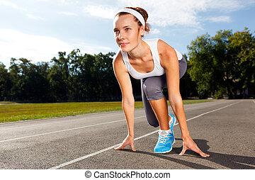 mooie vrouw, start, running., gereed, verticaal