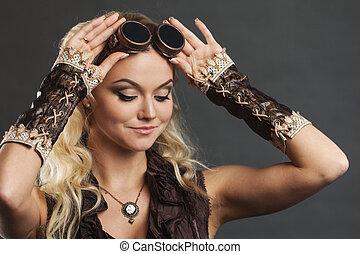 mooie vrouw, steampunk, op, grijze , achtergrond., verticaal...