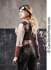 mooie vrouw, steampunk, op, grijze , achtergrond.,...
