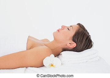 mooie vrouw, tafel, bovenkant, masseren, aanzicht