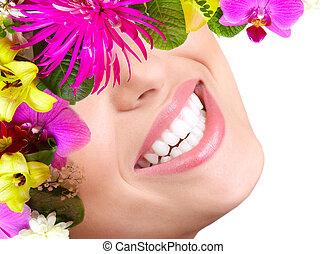 mooie vrouw, teeth, en, smile.