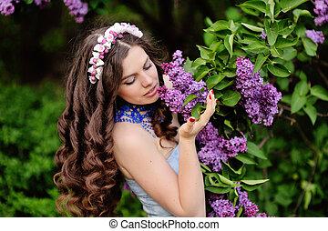 mooie vrouw, tuin, bloeien, jonge