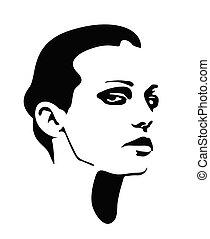 mooie vrouw, vector, gezicht, profile., meisje