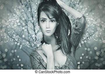 mooie vrouw, verticaal, anime, stijl, composiet