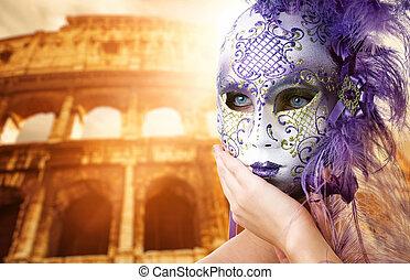 mooie vrouw, voor, colosseum, (rome, italy)
