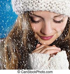 mooie vrouw, warme, trui