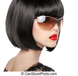 mooie vrouw, wi, sunglasses., glamour, brunette, model, mode