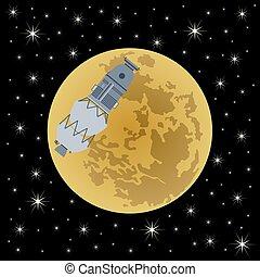 moon-3, satellit, bakgrund, utrymme