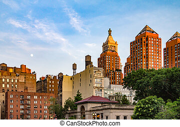 Moon Above Union Square Park in New York City