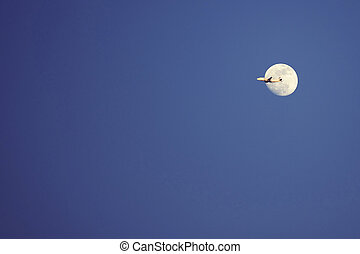 airplane on background of the moon