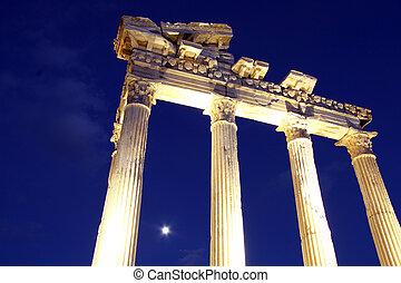 Apollo temple - Moon and Apollo temple at night in Side,...