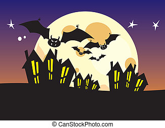 bats flying through the night sky
