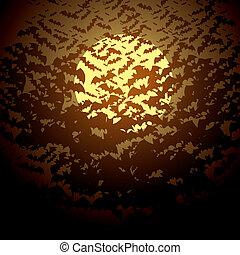Moon and bats. Vector illustration. Halloween background
